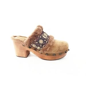 Ash Tan Sherpa Beaded Clog | Size: 37 (7)